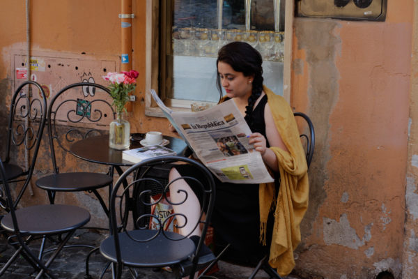 Who is Italophilia- That's me in Rome, trying to read the Italian newspaper La Repubblica